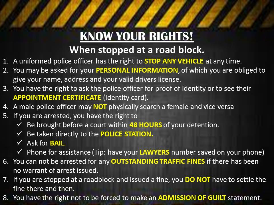 Understand That The Right To: KNOW YOUR RIGHTS AT A ROADBLOCK